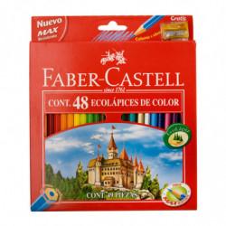 Lápices de colores Faber Castell hexagonales, de 48 colores + Sacapunta