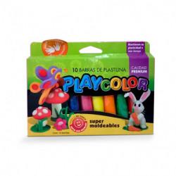 Plastilina Playcolor colores surtidos, caja de 10 barras
