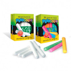 Tiza barnizada Playcolor blanca, caja de 12 unidadesmts.