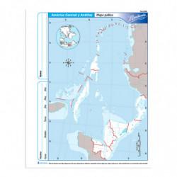 Mapa America Central y Antillas político Rivadavia Nº3, block de 40 mapas