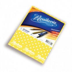 Cuaderno Lunares Rivadavia tapa dura amarillo, 16 x 21cm. 50 hojas rayadas