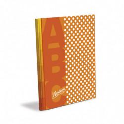 Cuaderno Lunares Rivadavia ABC tapa dura naranja, 19 x 23cm. 48 hojas rayadas