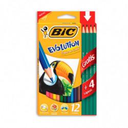 Lápices de colores Bic Evolution largos, de 12 colores