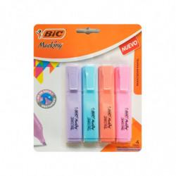 Resaltador Bic Marking Highlighter Text colores pastel, blister de 4 unidades