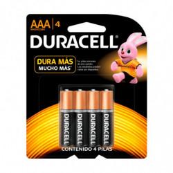 Pilas AAA (chica) Duracell, blister de 4 unidades
