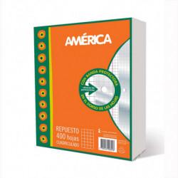 Repuesto con Banda América, 400 hojas cuadriculadas