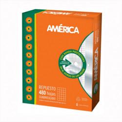 Repuesto América Oficio, 48 hojas cuadriculadas