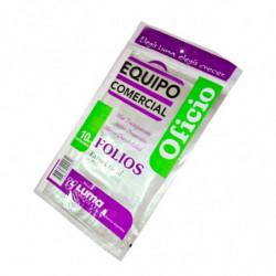 Folios Equipo Comercial Oficio, pack de 10 unidades